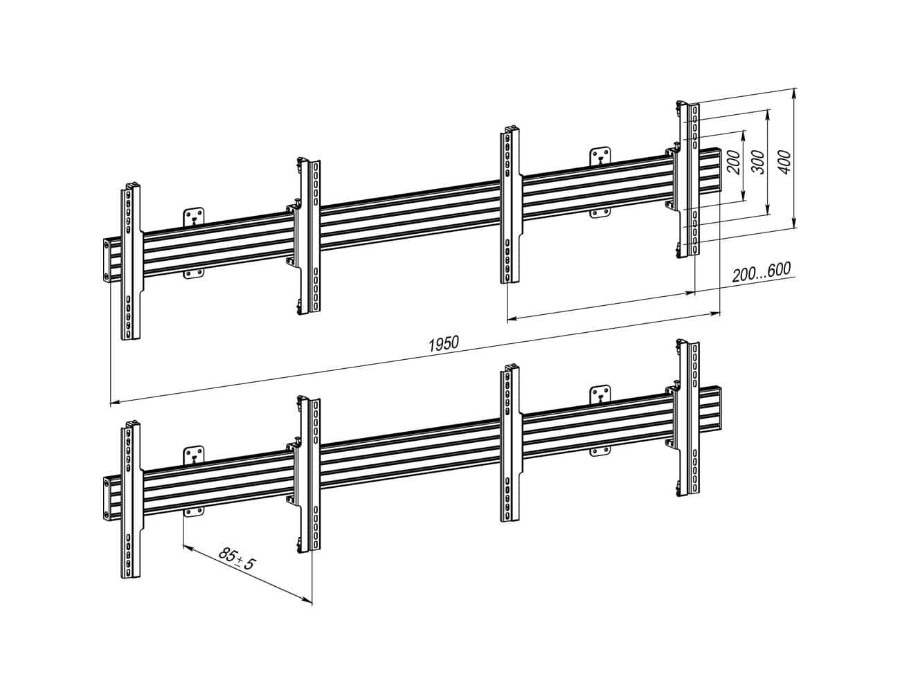 Кріплення для відеостіни 2×2 VSP4422C