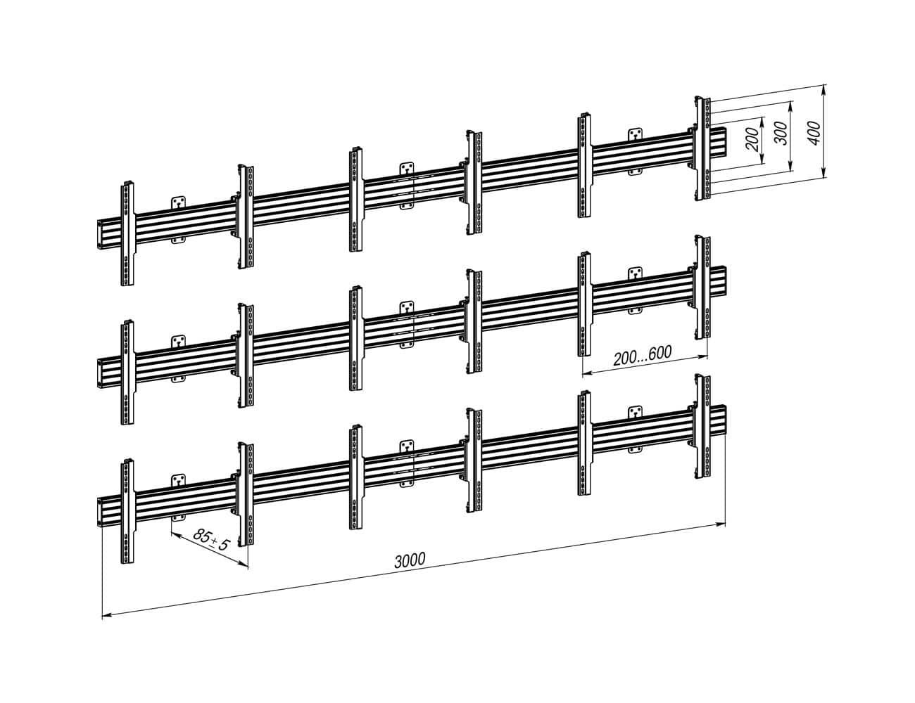 Кріплення для відеостіни 3×3 VSP4433C