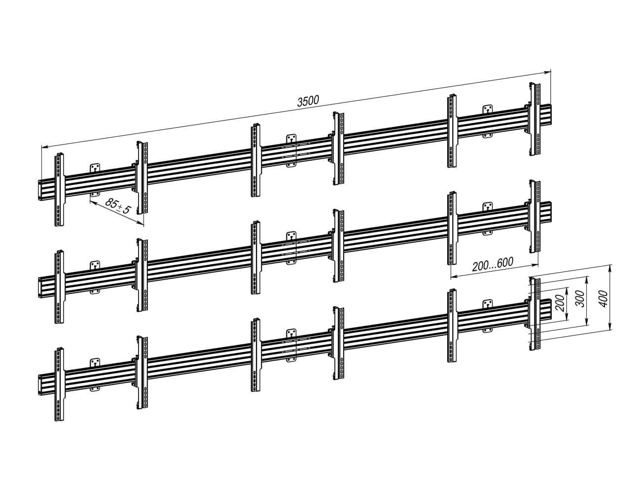 Кріплення для відеостіни 3×3 VSP6433C